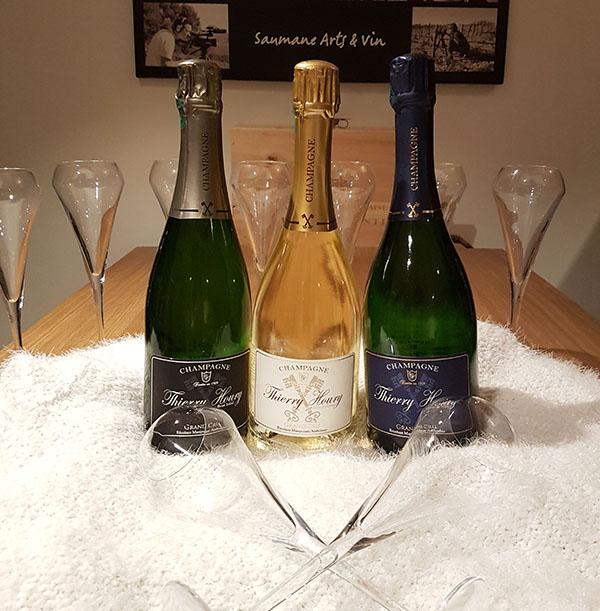 Bouteilles de Champagne Thierry Houry a la cave