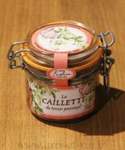 bocal Caillette à la Sauge 200g Maison Telme sur une table en bois