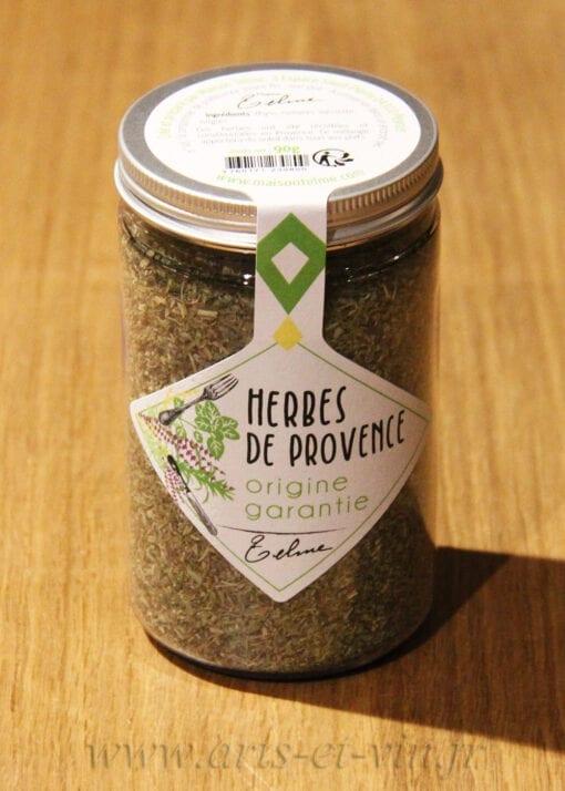 Pot d'Herbes de Provence Maison Telme sur une table en bois