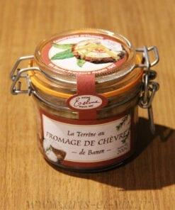 bocal de Terrine au Fromage de chèvre de Banon Maison Telme sur une table en bois