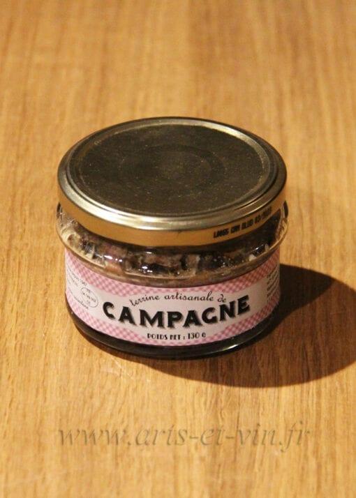 Pot de Terrine de Campagne aux Herbes de Provence 130g Maison Telme sur une table en bois