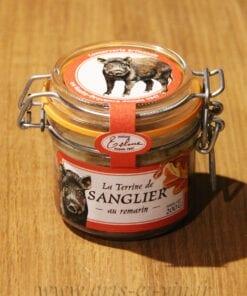 Bocal de Terrine de Sanglier au romarin 200g Maison Telme sur une table en bois