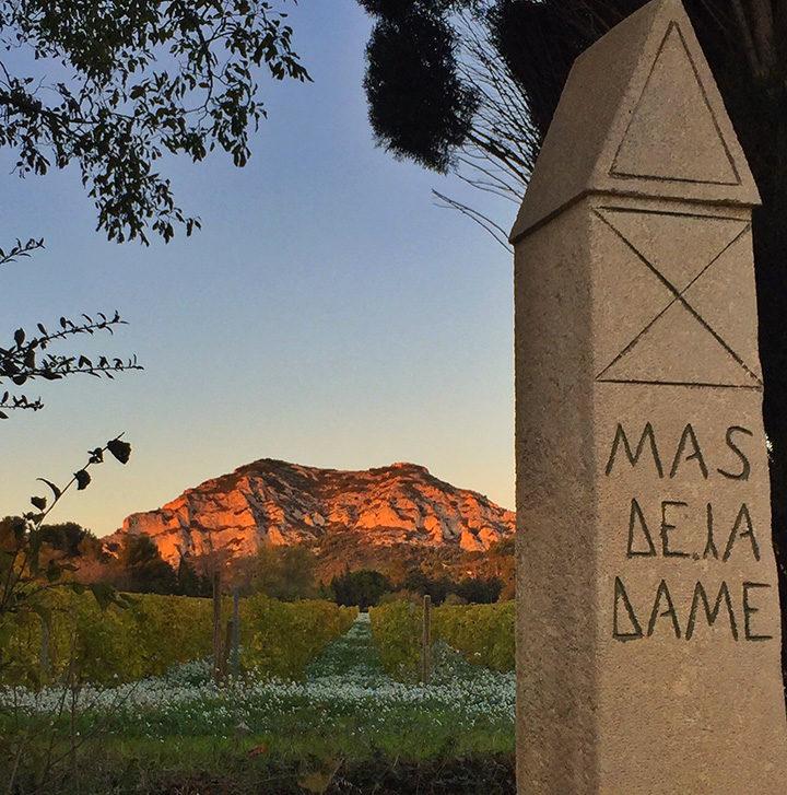 Stèle Mas de la dame et coucher de soleil Alpilles