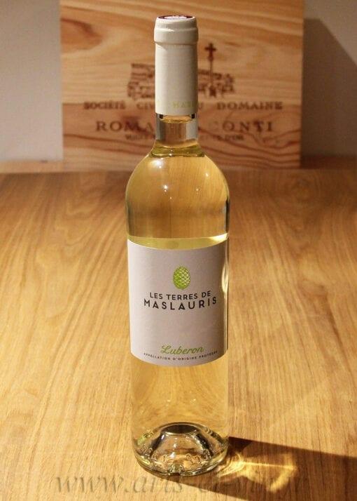 bouteille Les Terres de MasLauris Blanc Luberon sur table en bois