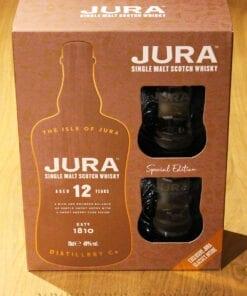 Whisky Jura 12 ans Coffret 2 verresWhisky sur table en bois