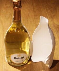 Bouteille Champagne Ruinart Blanc de Blancs etui seconde peau ouvert