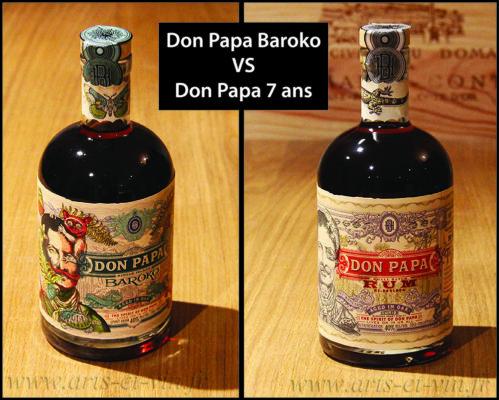 bouteilles Don Papa Baroko et Don Papa 7 ans sur table en bois